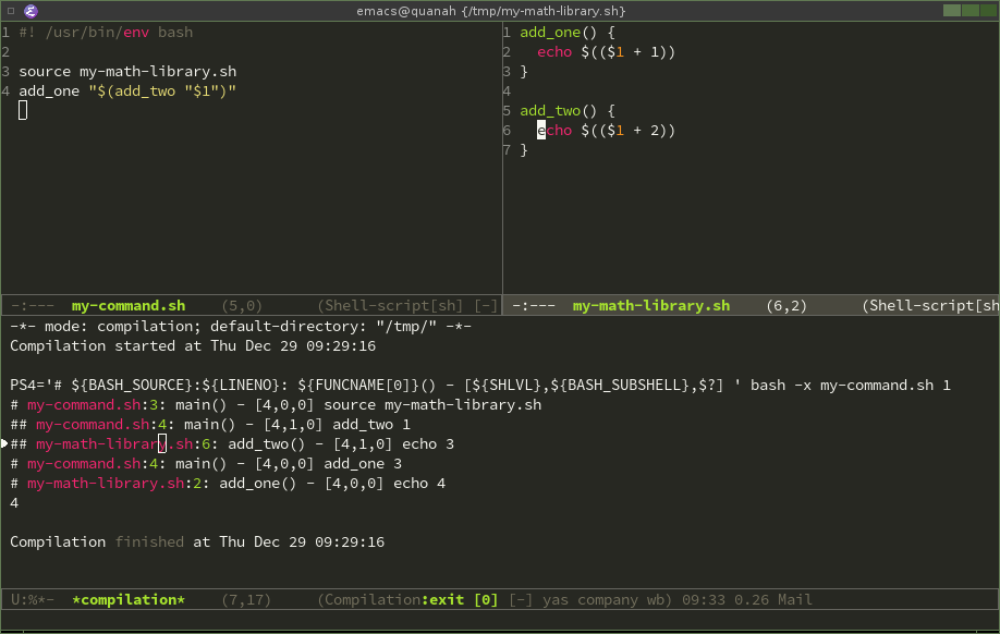 bash cli debugging in emacs