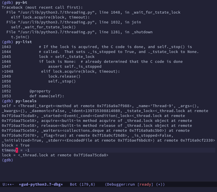 Emacs running GDB against the Python process