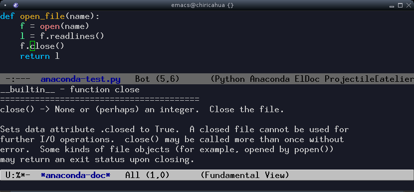 python doc lookup in emacs