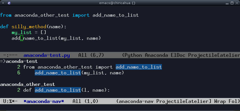 python usage in emacs