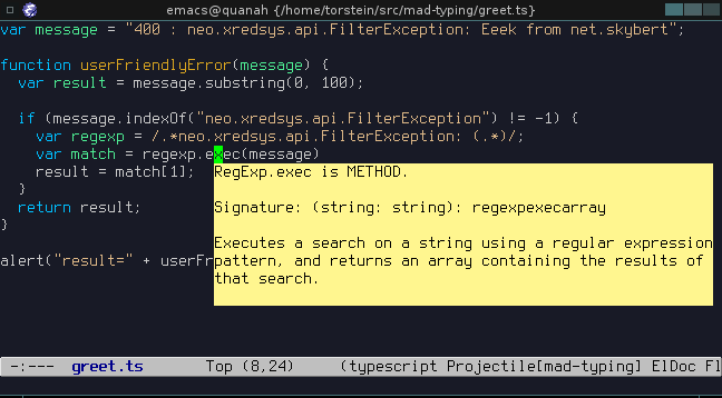 typecript mode in emacs
